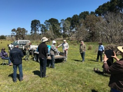 Chris and Roger (at right) from Kinglake Landcare group discuss safe and effective herbicide application while demonstrating the use of their rig.